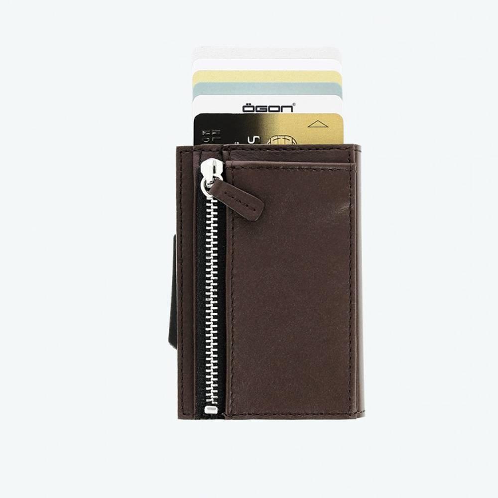Ogon Cascade Zipper Wallet Dark Brown