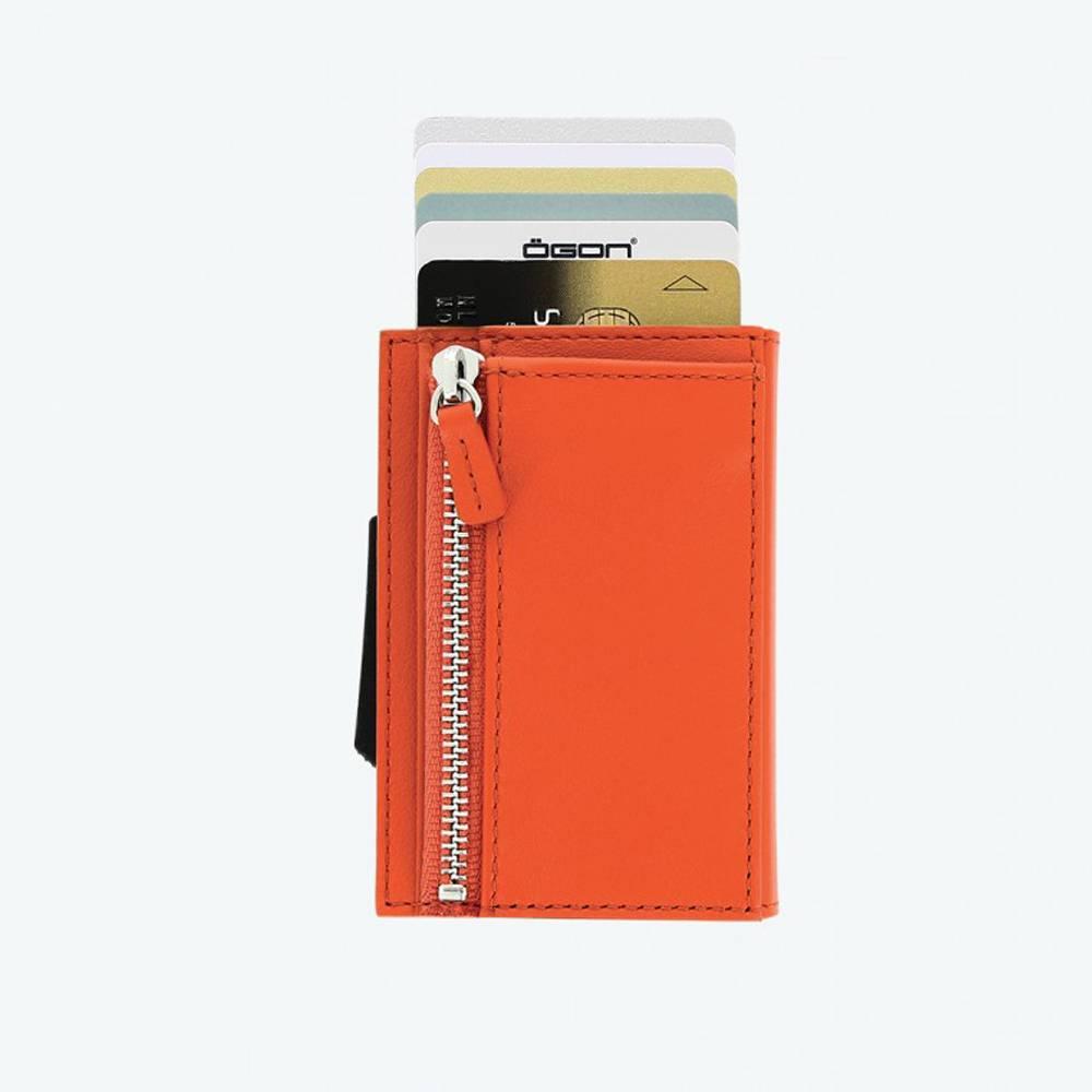 Ogon Cascade Zipper Wallet Dark Orange