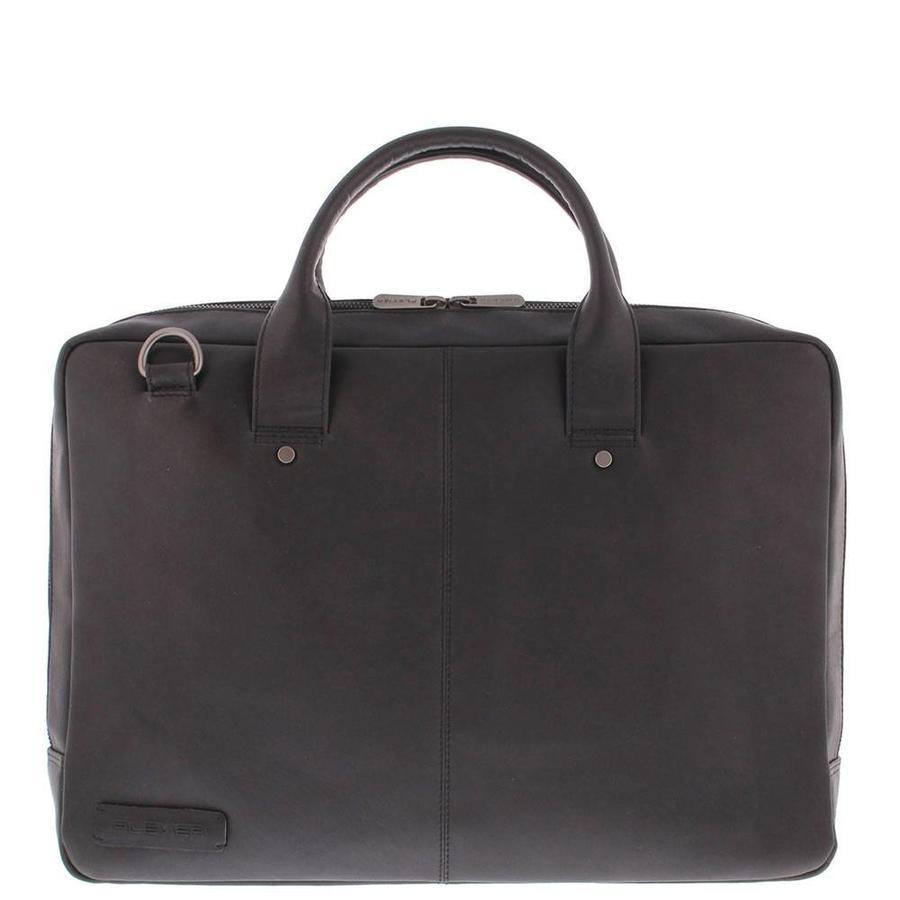 Plevier Leren Laptoptas Omega 17,3 inch Zwart