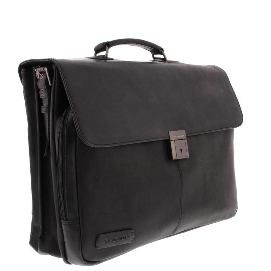 Plevier Decca Leren 2-vak Laptoptas 17,3 inch Zwart