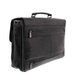 Plevier Morse Leren 2-vak Laptoptas 15,6 inch Zwart