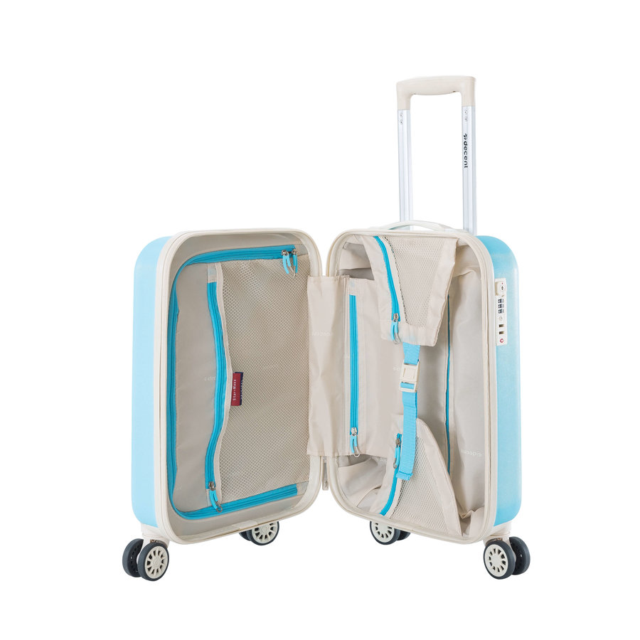 Decent Star Maxx Handbagage Trolley Koffer 55 Pastel Blauw