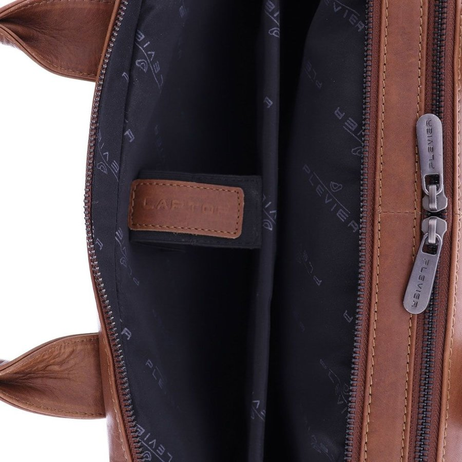 Plevier Transponder Leren Laptoptas 15,6 inch Bruin