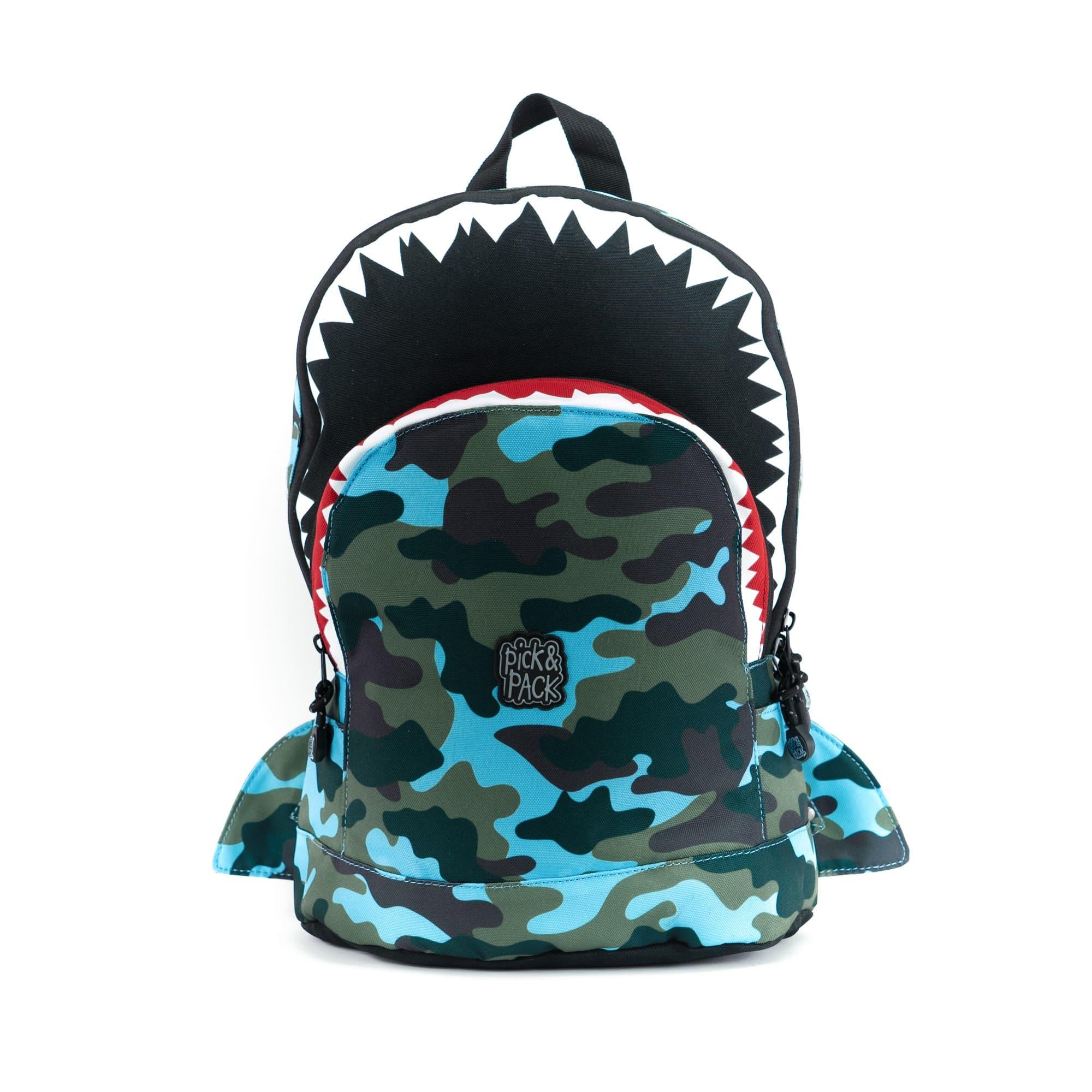 Pick & Pack Rugzak Shark Shape M Camo Light Blue