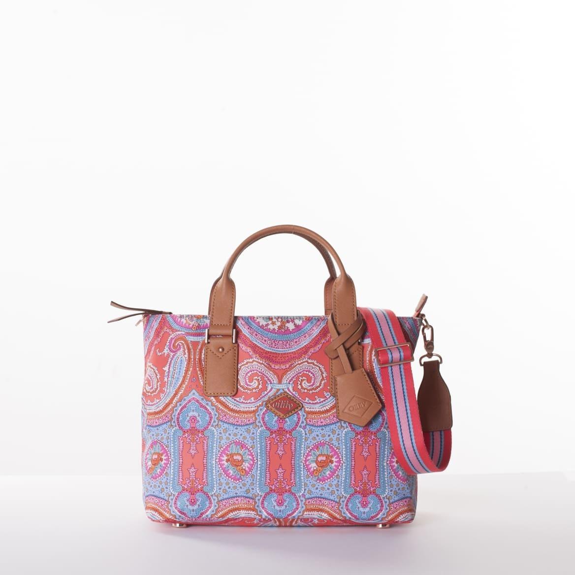 Oilily City Rose Paisley Handbag Hot Coral