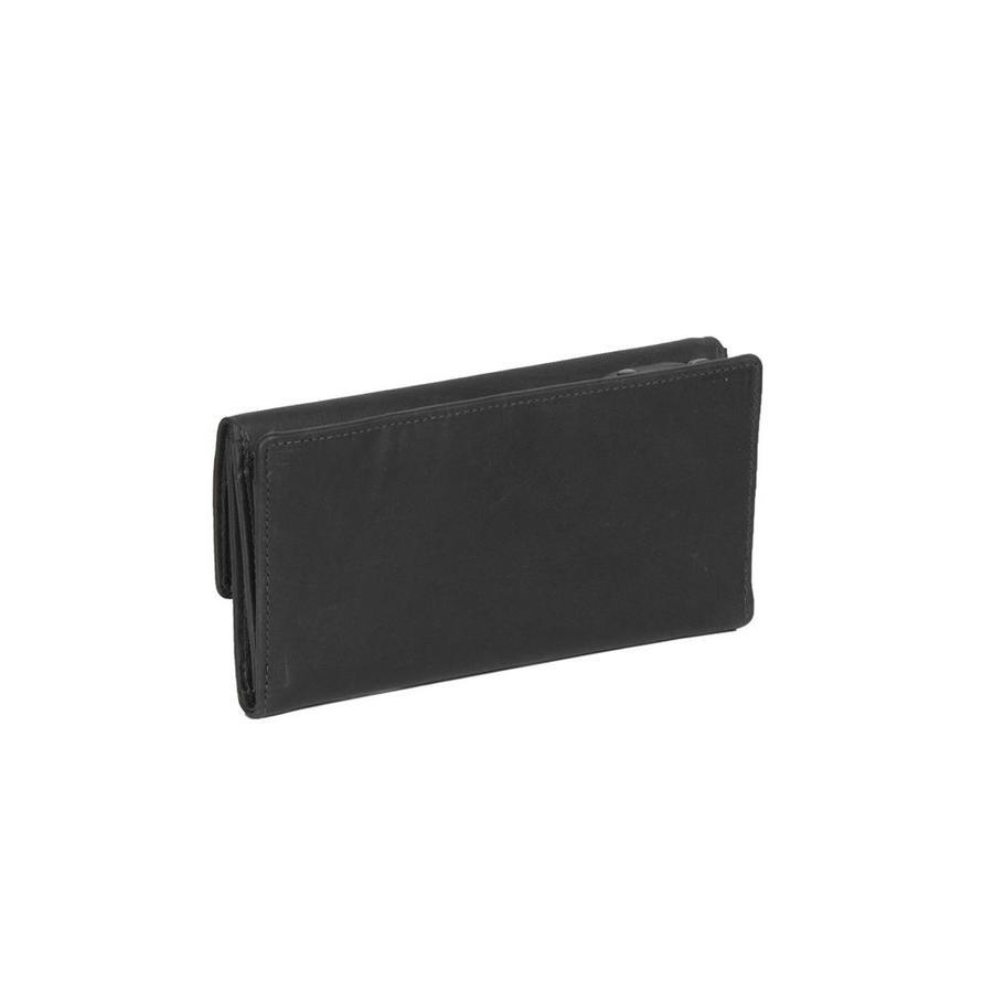 Chesterfield Overslag Leren dames portemonnee met ritsvak Ascot XL Zwart
