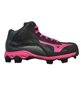 Mizuno 9-Spike Advance Franchise Mid 8 zwart outdoor schoenen meisjes