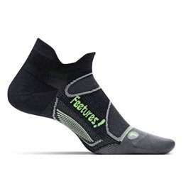 Feetures Elite Light Cushion zwart groen sportsokken uni