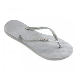 Havaianas Slim Logo Metallic grijs slippers dames