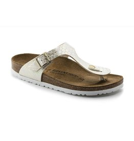 Birkenstock Gizeh Shiny Snake cream narrow sandalen dames