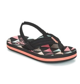 Reef Little AHI Surf Flag zwart roze slippers baby's