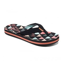 Reef Kids AHI Surf Flag zwart roze slippers kids