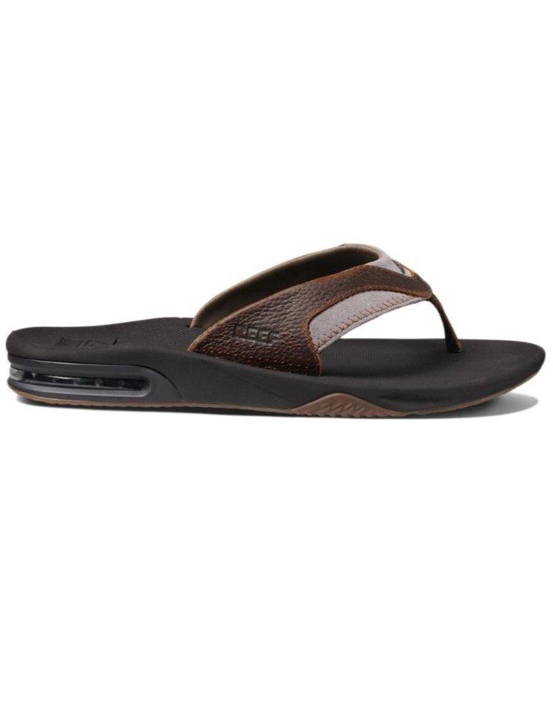 22c6edd49c7d20 Reef Leather Fanning bruin slippers heren (RF002156BR41 ...