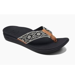 Reef Ortho-Bounce woven zwart wit slippers dames
