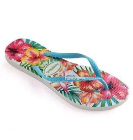 Havaianas Slim Hibisco roze blauw slippers dames