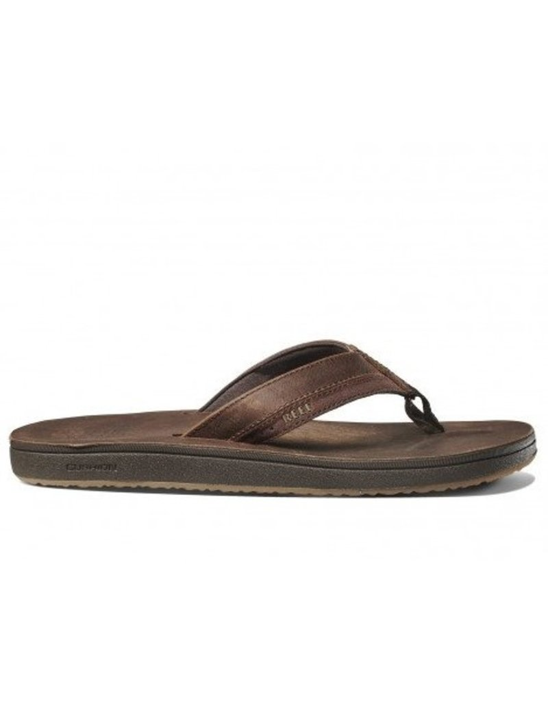Reef Reef Leather Contoured Cushion chocolate slippers heren