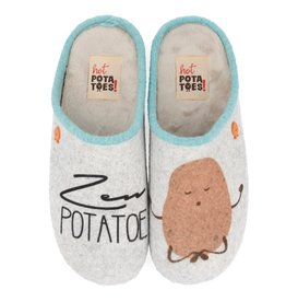 Hot Potatoes HP 57008 grijs blauw pantoffels dames