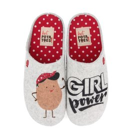 Hot Potatoes HP 57013 grijs rood pantoffels dames