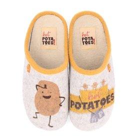 Hot Potatoes HP 57057 grijs geel pantoffels meisjes
