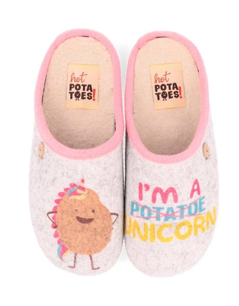 Hot Potatoes Hot Potatoes HP 57058 grijs roze pantoffels meisjes