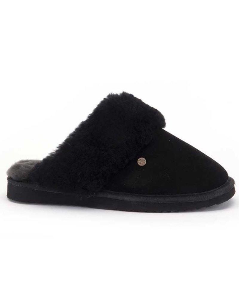Warmbat Warmbat Flurry Suede zwart pantoffels dames