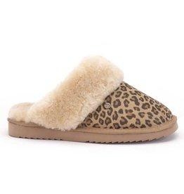 Warmbat Flurry Suède bruin panter pantoffels dames