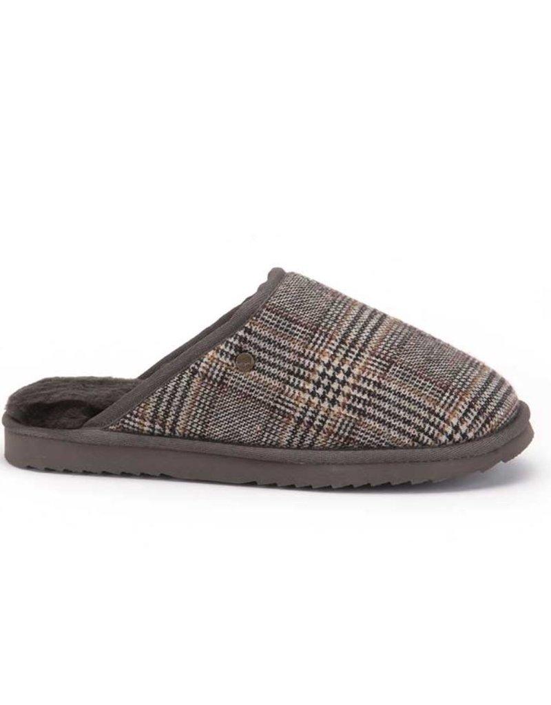 Warmbat Warmbat Classic Check Pebble bruin pantoffels heren