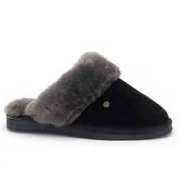 Warmbat Flurry Suede zwart grijs pantoffels dames