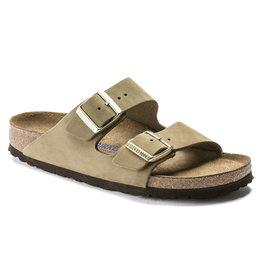 Birkenstock Arizona khaki leer zacht voetbed narrow sandalen dames (s)