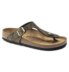 Birkenstock Gizeh Shiny Python zwart regular sandalen dames (s)