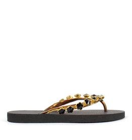 Uzurii Black Flower zwart slippers dames (s)