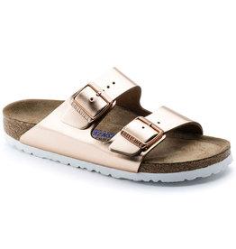 Birkenstock Arizona natuurleer metallic copper zacht voetbed narrow sandalen dames (s)