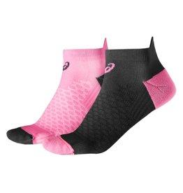 Asics Hardloopsokken (2 paar) roze en zwart laag dames