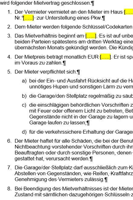 FOCUS Online Vorlage Mietvertrag für Garage und Stellplatz
