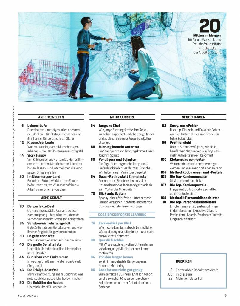 "FOCUS FOCUS Business - ""Gehalt & Karriere""  2018"