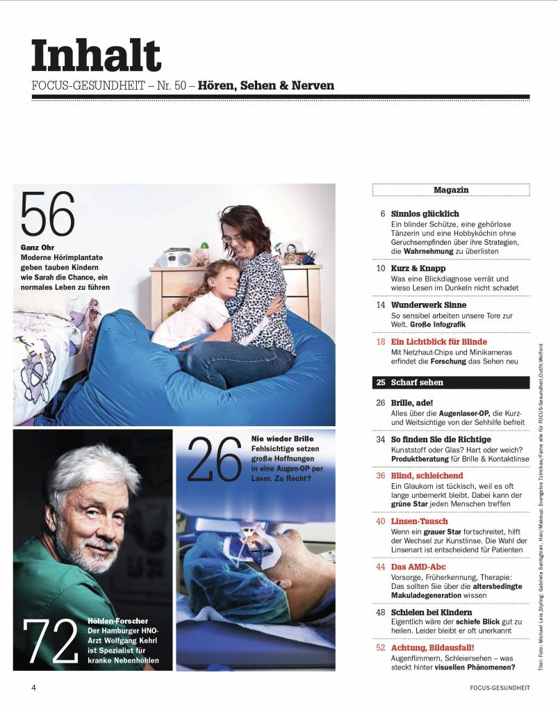 """FOCUS Focus Gesundheit """"Hören & Sehen"""" 2018"""
