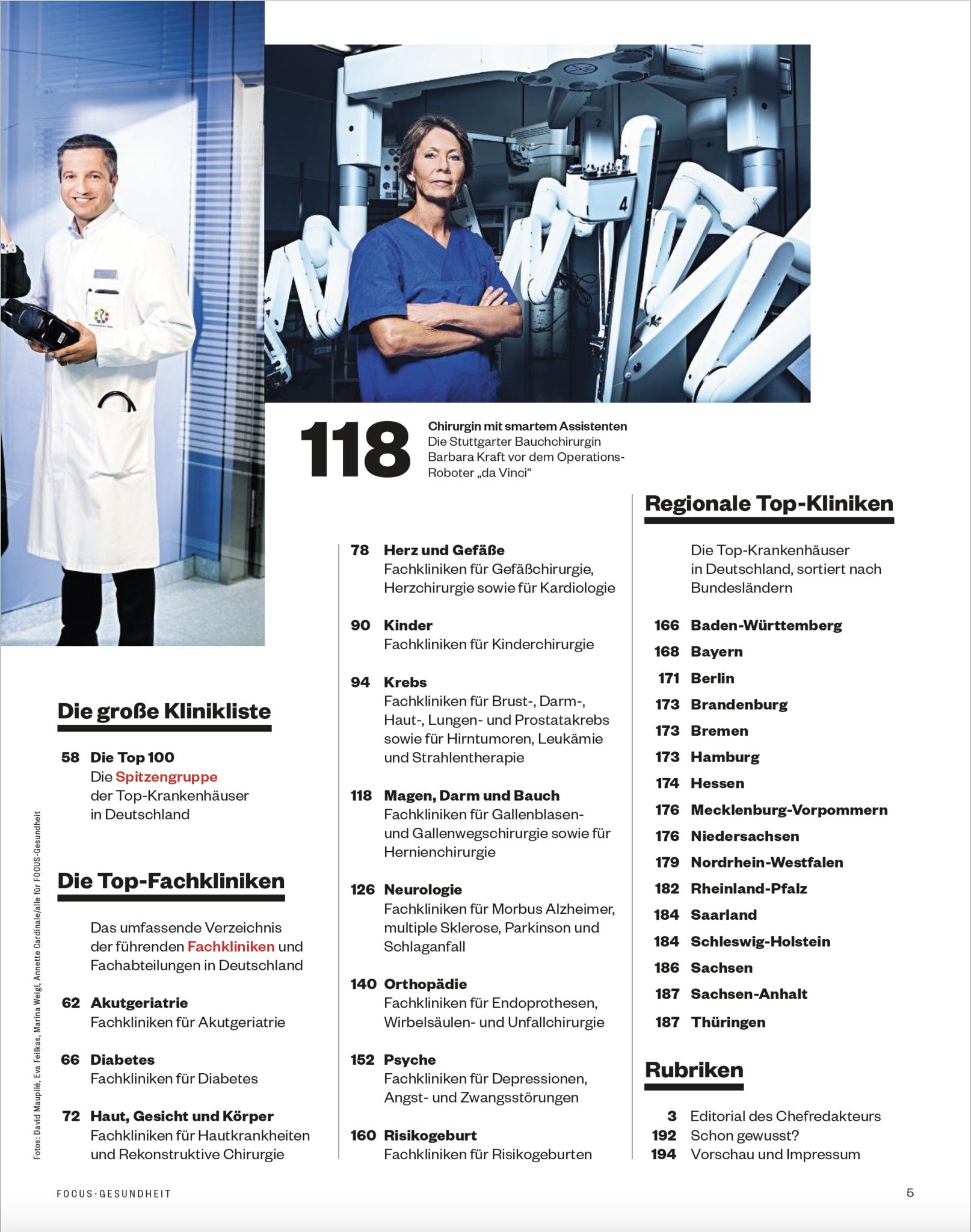 FOCUS-GESUNDHEIT  FOCUS GESUNDHEIT - Klinikliste 2020