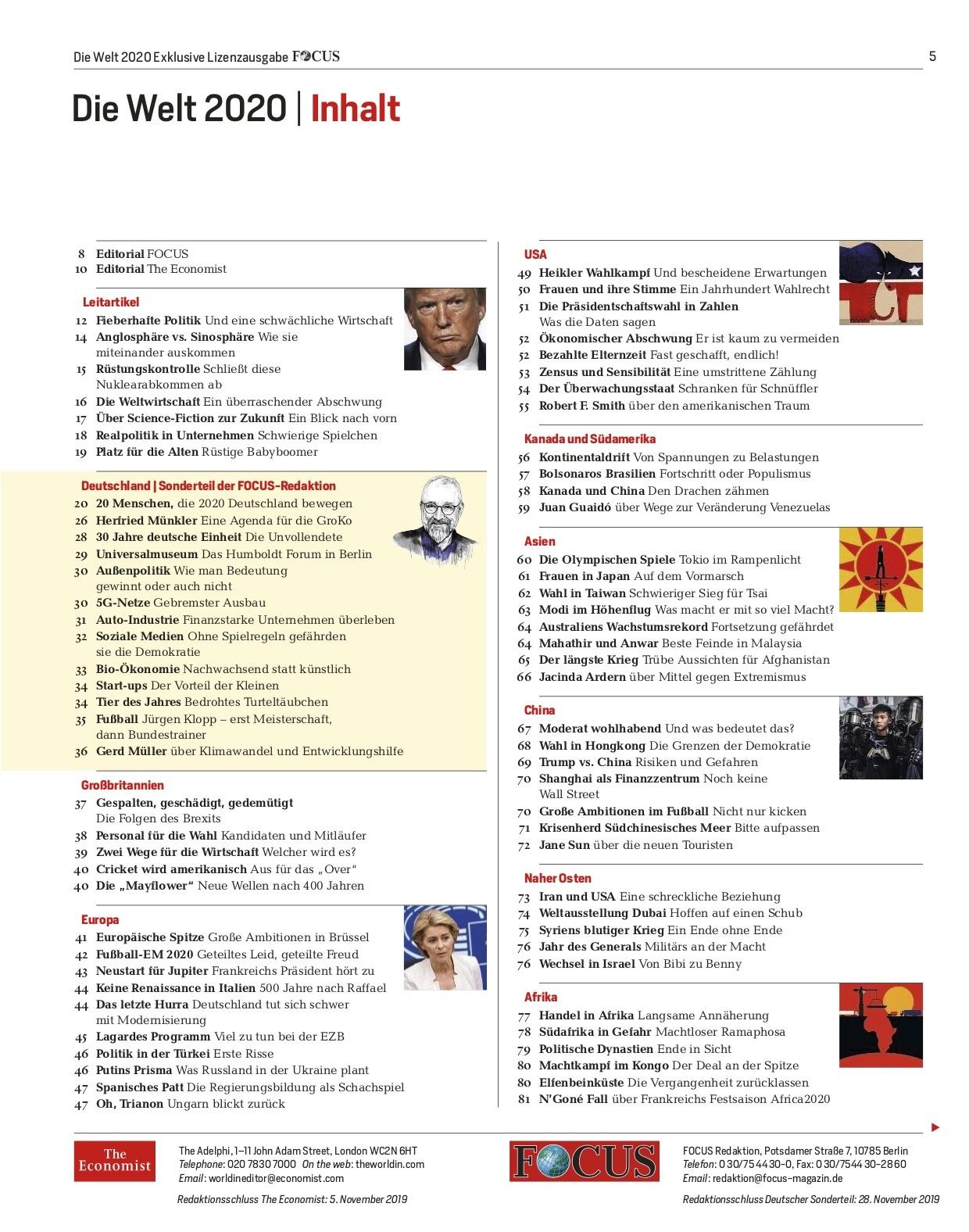 FOCUS Magazin FOCUS & The Economist Sonderheft - Die Welt 2020