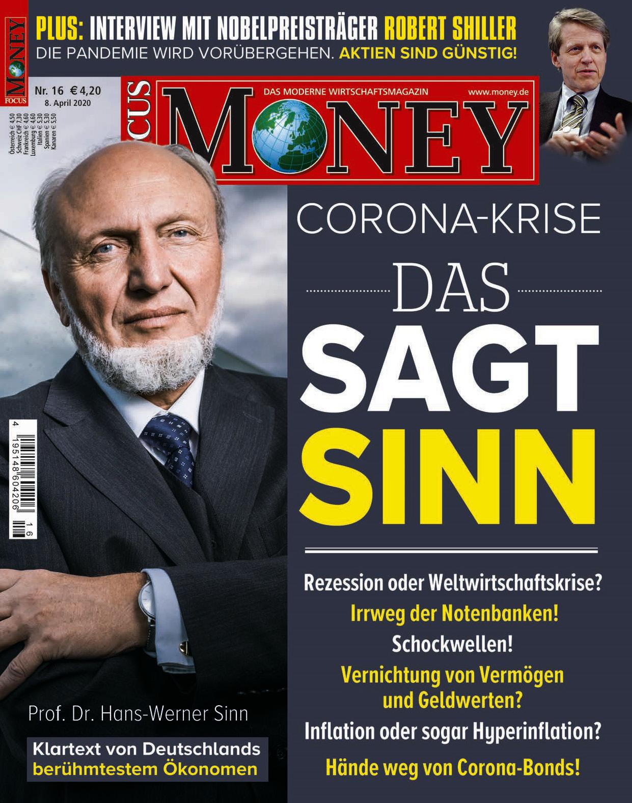 FOCUS-MONEY FOCUS MONEY – Corona-Krise: Das sagt Professor Hans-Werner Sinn