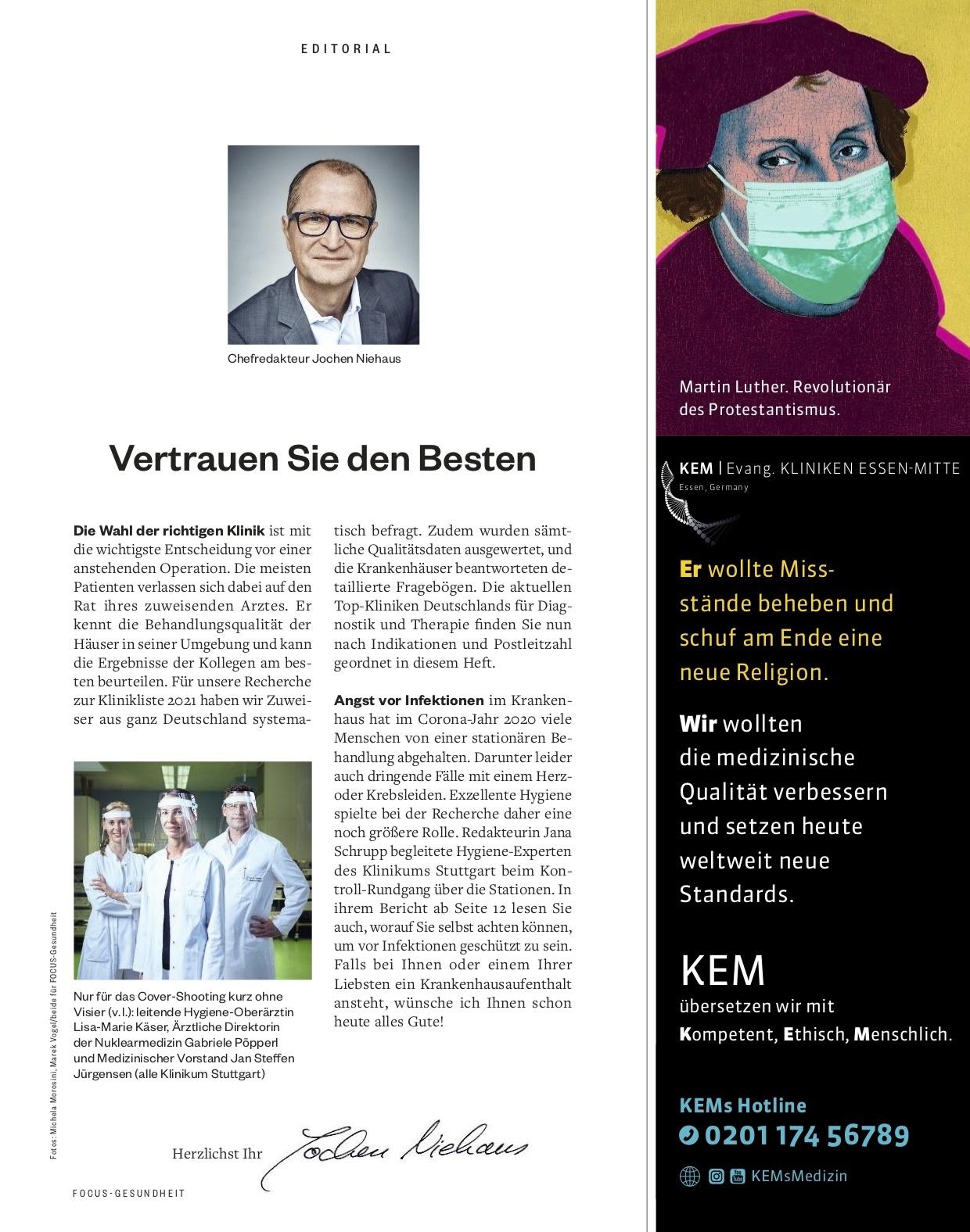 FOCUS-GESUNDHEIT FOCUS Gesundheit - Klinikliste 2021