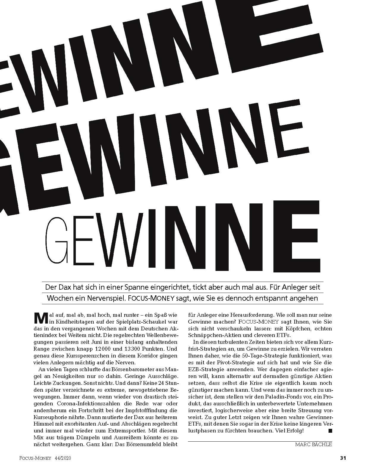 FOCUS-MONEY FOCUS MONEY – Gewinne, Gewinne, Gewinne
