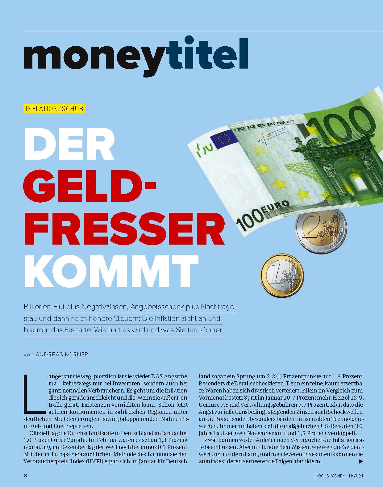 FOCUS-MONEY FOCUS MONEY – Inflationsgefahr! So legen Sie ihr Geld jetzt neu an