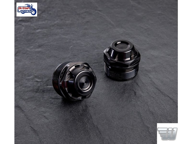 Wunderkind Black Aluminium Fork Caps for Triumph Twins