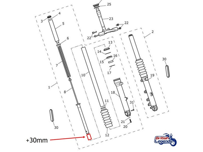 Free Spirits Fork Riser Kit +30mm for Triumph Twins