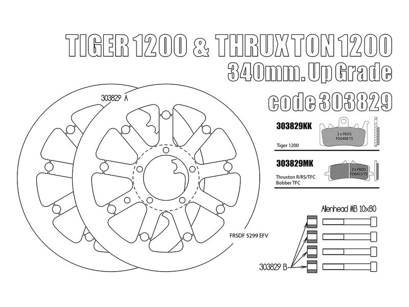 """Free Spirits Kits """"Gros Disques"""" 340mm pour votre Triumph"""