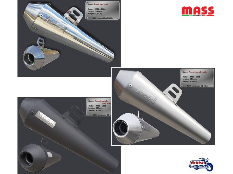 MASS Moto Stainless Silencers for Triumph motorcycles