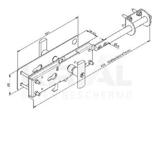 Krial Kit industriëel slot voor sectionale poorten, opbouwkit (excl. cilinder)