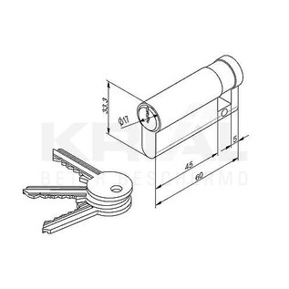 Krial Inbraakwerend slot met enkel cilinder buiten, opbouwkit (excl. cilinder)