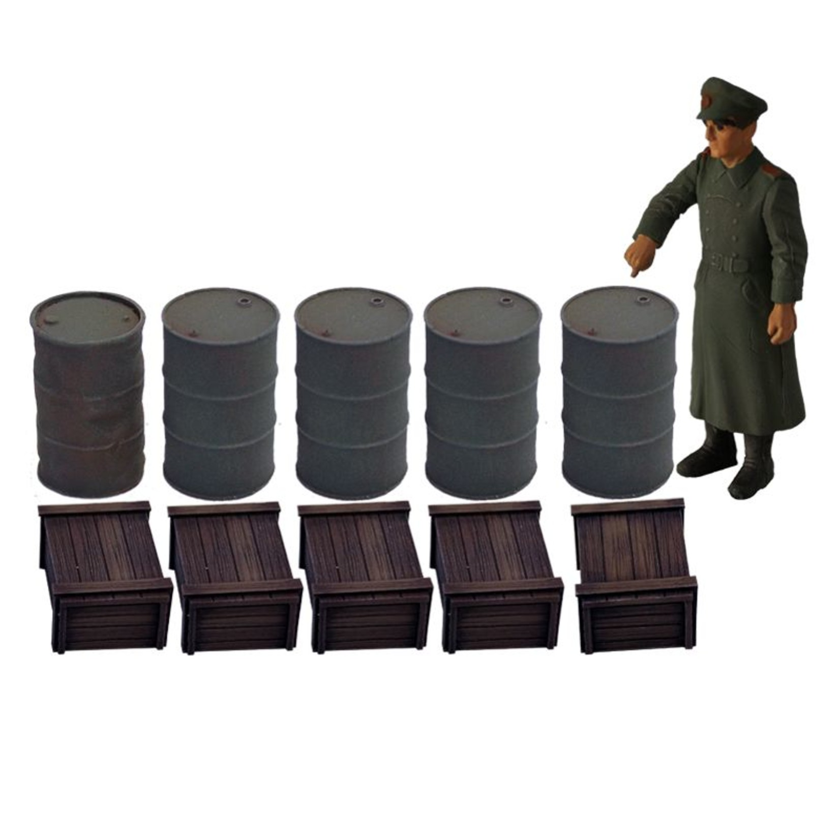 Barrels, boxes and military figure