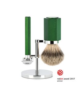 Muhle Hexagon Safety Razor Set - Silvertip - Forrest